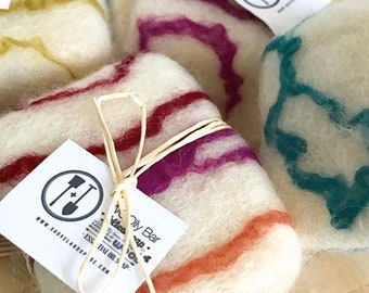 Felted Soap Variety 4 Pack | All Natural Gift Set Wool Essential Oil Exfoliating Soaps, Zero Waste Gifts under 10 for Care Package