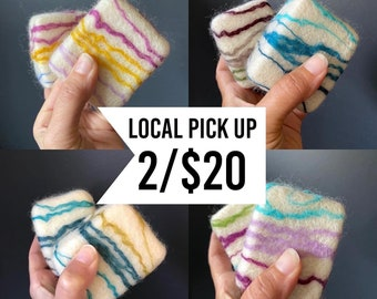 Local Pickup | 2pk Felted Soaps, Natural Exfoliate Essential Oil Soaps You pick Set of 2, Zero Waste Gifts, Care Package Mothers Day Gifts