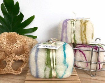 Lavender Sage Felted Soap All Natural, Organic Wool Soap, Exfoliating Lavender Soap Zero Waste Skincare, Plastic Free Packaging, Desert Glow