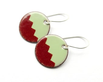 Round Earrings from Dark Red and Green Enamel on Copper with Sterling Silver Earwires