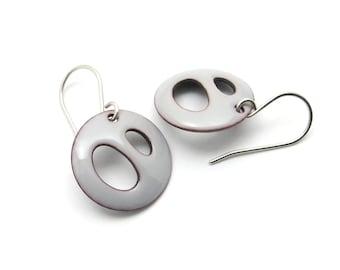 Gray Enamel Earrings, Modern Lightweight Eearrings