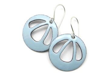 Light Blue Earrings with Sterling Silver Earwires, Enamel Jewelry in Pastel Colors