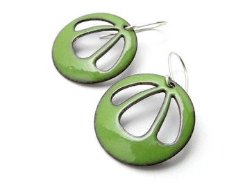 Green Dangle Earrings with Sterling Silver Earwires, Modern Enamel Earrings