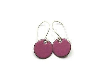 Small Purple Earrings, Enamel on Copper with Sterling Silver Earwires, Minimalist Jewelry