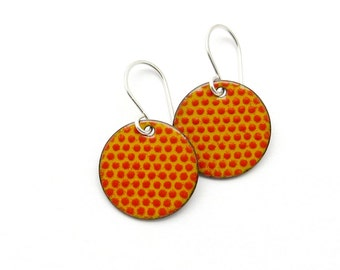 Yellow and Red Polka Dot Earrings with Sterling Silver Earwires, Modern Enamel Earrings