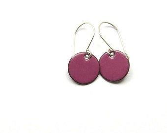 Small Purple Earrings - Enamel on Copper with Sterling Silver Earwires - Minimalist Jewelry - Gift for Girl / Candies