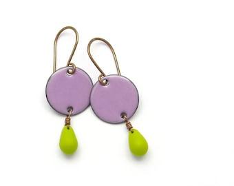 Amethyst Purple Earrings with Chartreuse Green Glass Teardrops, Enamel on Copper Earrings