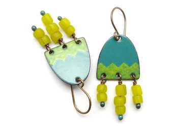 Yellow and Green Boho Earrings - Enamel on Copper - Bohemian Jewelry - Birthday Gift for her