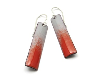 Long Gray and Red Dangle Earrings with Sterling Silver Earwires, Enamel Jewelry