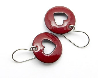 Dark Red Heart Earrings with Sterling Silver Earwires - Lightweight Enamel Jewelry - Love Gift for her
