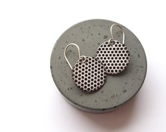 Black and White Polka Dot Earrings, Modern Enamel Earrings