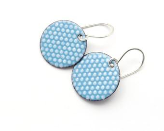 Aqua Blue Earrings with White Polka Dots, Enamel Earrings with Sterling Silver Earwires