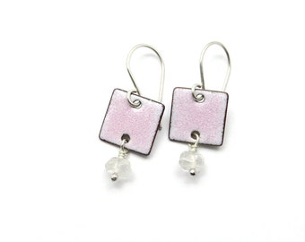 Pastel Pink Quartz Earrings with Enameled Squares and Sterling Silver Earwires