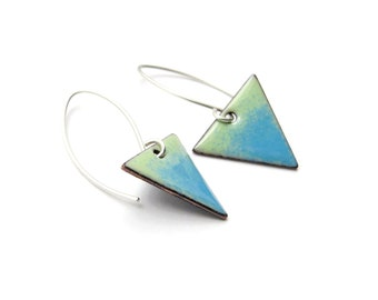 Green and Blue Triangle Earrings, Enamel on Copper and Sterling Silver