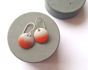 Small Gray and Red Dangle Earrings with Sterling Silver Earwires, Enamel Earrings