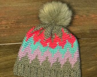 bf6b278b9ee Items similar to Chevron Hat   Scarf set women s on Etsy