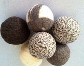 Wool dryer balls neutral felted natural tones set of three