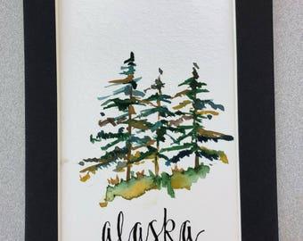 Alaska trees watercolor original pine trees