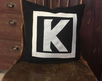 Wool Initial Pillow K Black Letter Monogram Decor Upcycled Eco friendly Black and White