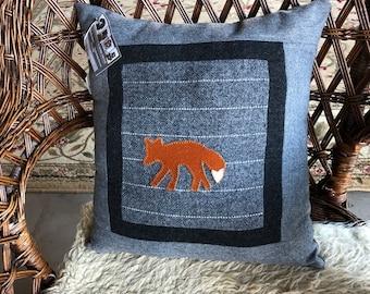 Fox pillow gray wool lodge