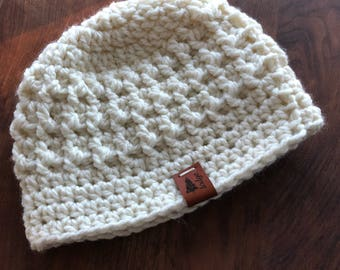Cream beanie hat winter accessory