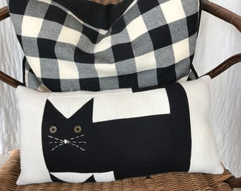 Decorative Cat Pillow Primitive wool black cat stars Eco friendly upcycled