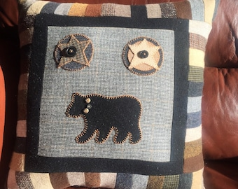 Wool Bear Pillow Lodge Cabin Decor Upcycled Wool Patchwork Woodland  Bear Stars Cabin Accent by Northernlodge on Etsy