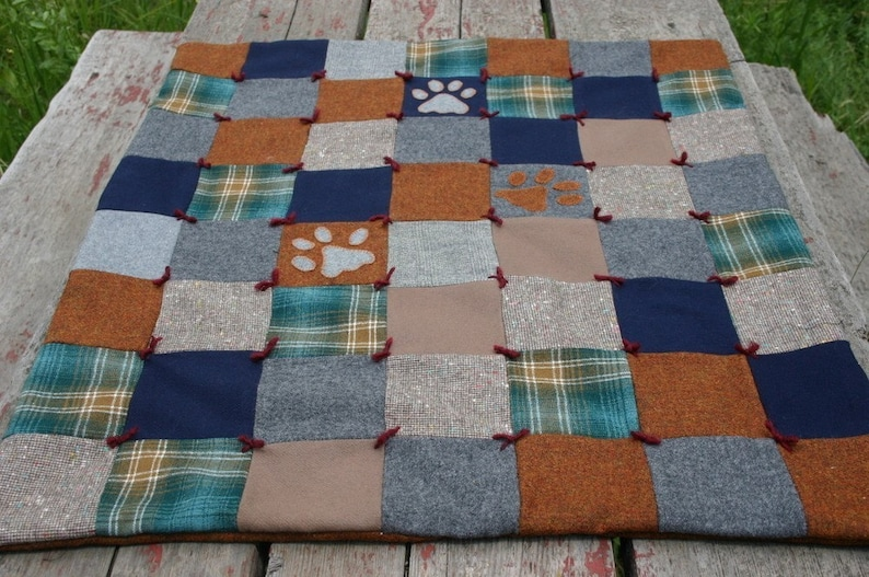 Wolf Pawprint Quilt Wool Throw Decorative Eco Friendly Upcycled Wool Patchwork Applique Woodsy by Northernlodge on Etsy