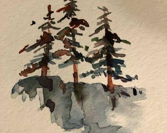 North Shore Superior trees watercolor original pine trees