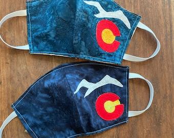 Colorado Face mask colorado flag mountain appliqued fabric mask protective mask cotton fabric face mask reversible covid mask