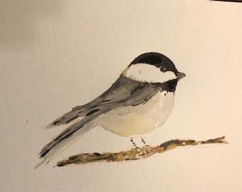 Chickadee watercolor original bird art