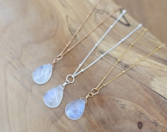 Rainbow Moonstone Necklace, 14K Gold Filled Rose Gold Filled Sterling Silver Moonstone Necklace, Handmade Jewelry Jewellery, Satellite Chain