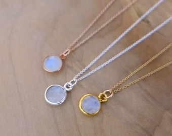 8mm Rainbow Moonstone Necklace, Sterling Silver Rose Gold Vermeil Moonstone Bezel Charm, 14K Gold Filled Chain, Handmade Jewelry Jewellery