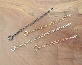 Necklace Extender Chain 14K Gold Filled Rose Gold Filled Sterling Silver 925 Oxidized Silver Necklace Extension Chain Various Length Options