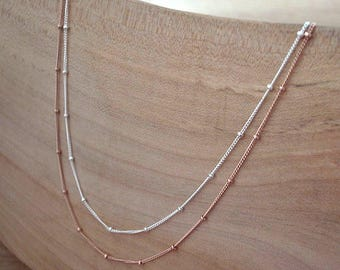 14K Rose Gold Filled Chain Necklace, 14K Rose Gold Filled Satellite Chain Necklace 14K Gold Filled Handmade Jewellery Custom Length Necklace