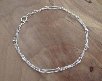 Sterling Silver Double Satellite Chain Bracelet and Anklet, Sterling Silver 925 Double Beaded Chain Bracelet Anklet, Custom Length Available
