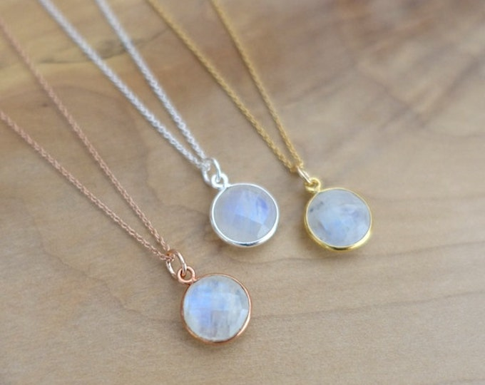 10mm Rainbow Moonstone Necklace, Moonstone Vermeil Bezel Charm, 14K Gold Filled Rose Gold Filled Sterling Silver 925 Chain Handmade Jewelry