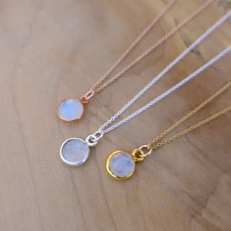 8mm Rainbow Moonstone Necklace Moonstone Necklace Sterling image 0