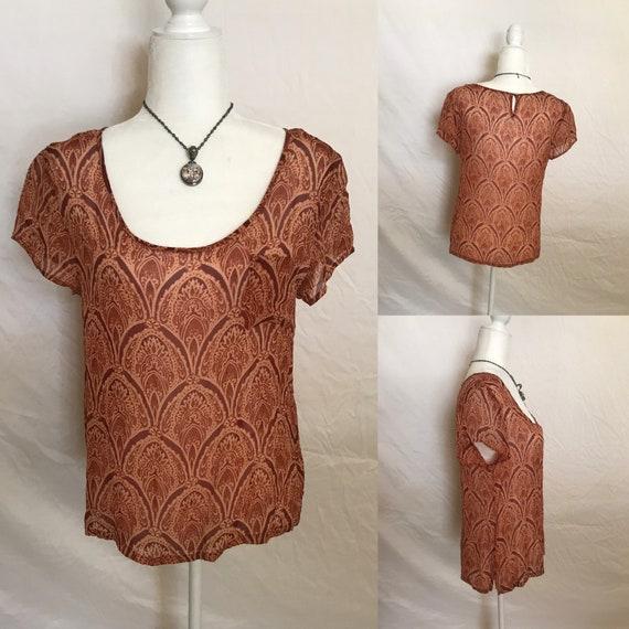 Silky Shear Orange Hippie Style Blouse