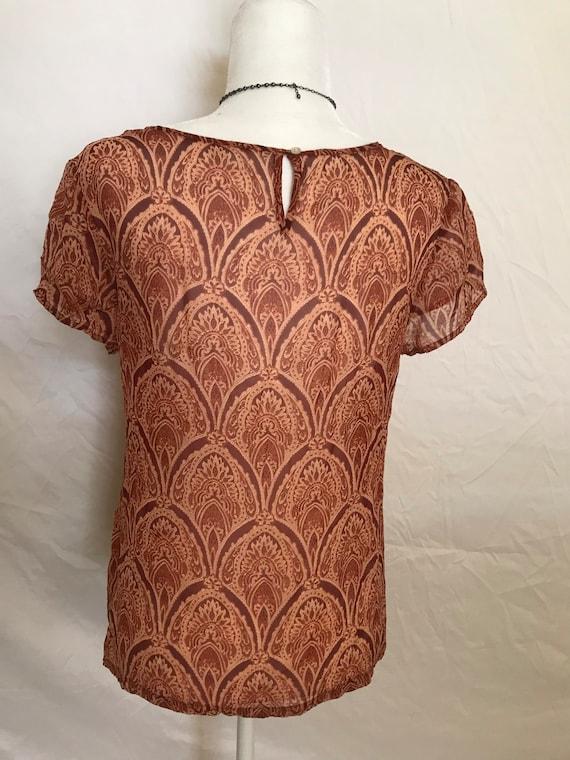 Silky Shear Orange Hippie Style Blouse - image 3