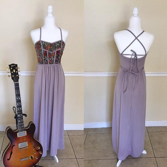 70's Flower Power Lavender Floral Dress