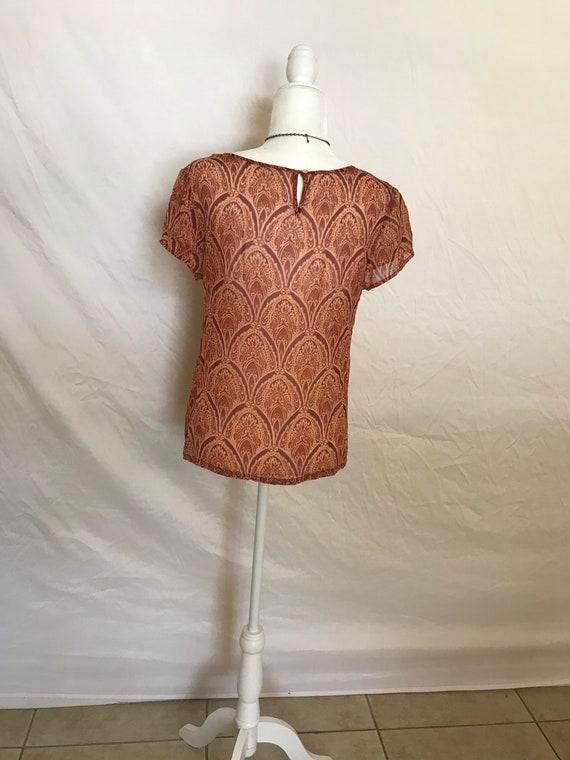 Silky Shear Orange Hippie Style Blouse - image 10