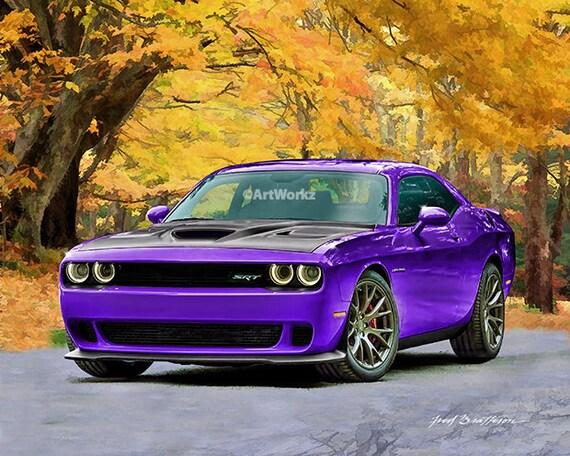 Hot Rod Art Dodge Challenger Hellcat Plum Crazy Muscle Etsy