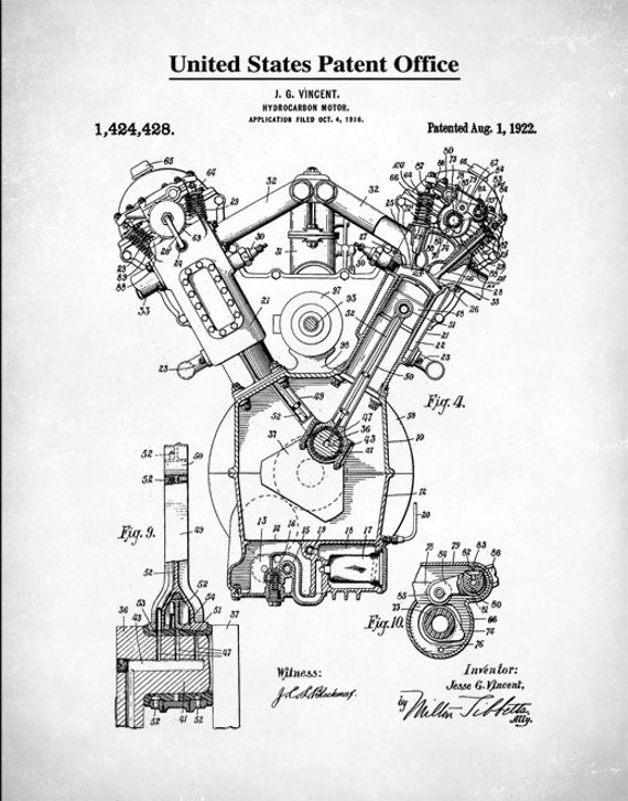 Patent Prints Auto Art Chrysler Hemi Engine Internal