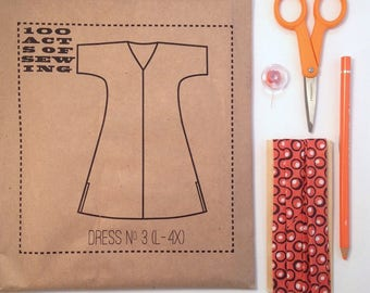 100 Acts of Sewing: Dress No. 3 - Sewing Pattern  (sizes L - 4XL)