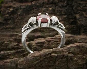 Raven Skull Garnet Engagement Ring, Sterling silver gothic wedding ring, dainty January birthstone ring, bird skull promise ring, size 7 & 8