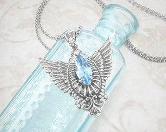 Uplifted Spirit Aquamarine Necklace - March Birthstone Necklace, Guardian Angel Wing Necklace, Memorial Pendant, Wing Jewelry, Skyward