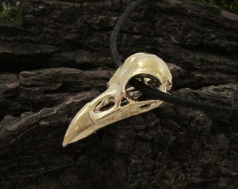 Brass Raven Skull Necklace, bird skull pendant, crow skull necklace, viking shaman talisman, huginn and muninn spirit animal for norse witch
