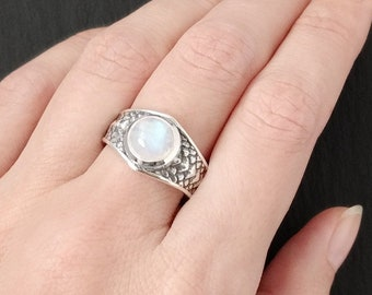 Draco Rainbow Moonstone Ring, Size 7, Sterling silver dragon scale ring, nontraditional witchy engagement ring for women, dragon lover gift
