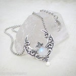 Selene Rainbow Moonstone Necklace, Silver Crescent Moon Necklace, Goddess of the Moon, Moonsong Collection
